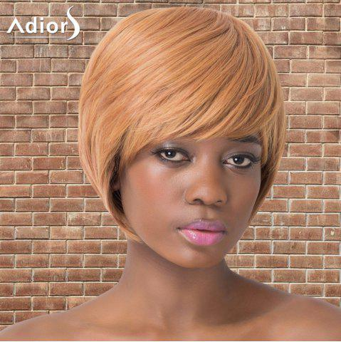 Discount Adiors Short Shaggy Full Bang Straight Synthetic Wig GOLD BROWN