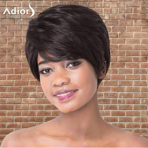 Discount Refreshing Short Side Bang Straight Synthetic Adiors Wig BLACK