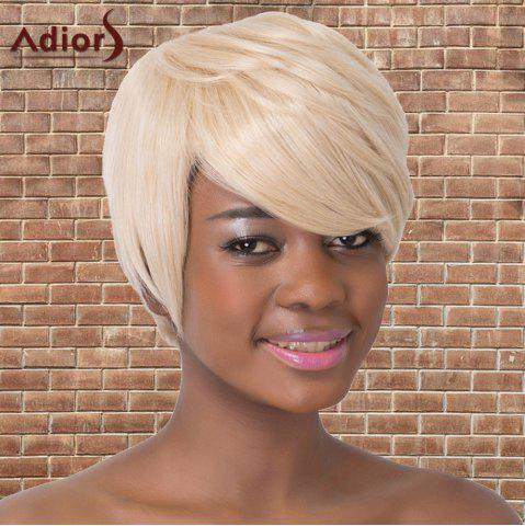 Unique Refreshing Short Oblique Bang Straight Synthetic Adiors Wig BEIGE
