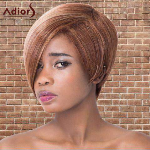 Best Short Oblique Bang Highlights Straight Synthetic Adiors Wig