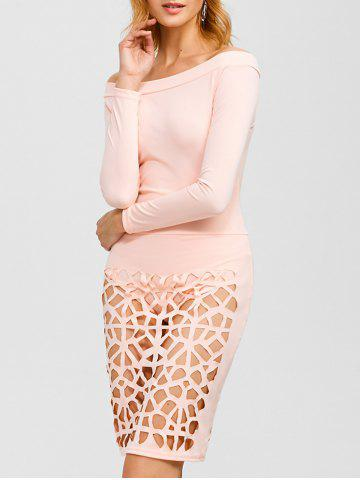 Off Shoulder Bandage Caged Bodysuit Dress - Light Beige - L