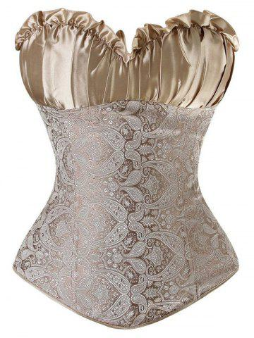 Unique Ruffled Lace Up Jacquard Panel Corset GOLDEN 6XL