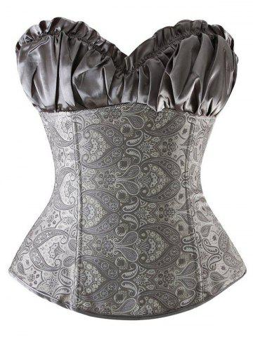 Ruffled Lace Up Jacquard Panel Corset - Silver - S