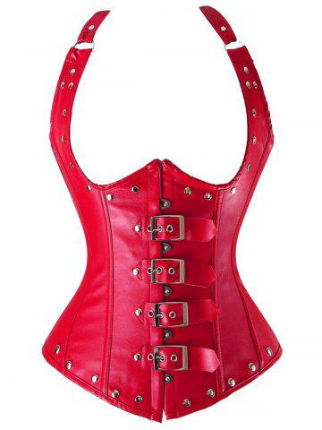 Shops Cupless Buckle Rivet Leather Corset RED 6XL