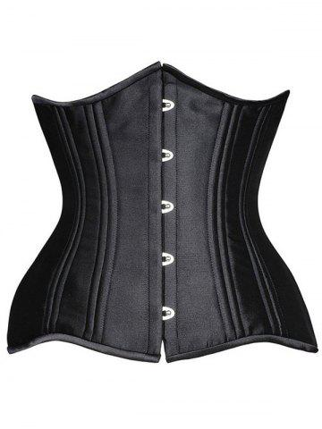 Steel Boned Underbust Lace-Up Corset - Black - Xs