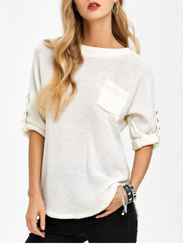 Cheap Loos Fit One Pocket Rivets Embellished Knitwear WHITE 2XL