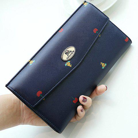 Store Printed PU Leather Clutch Wallet DEEP BLUE
