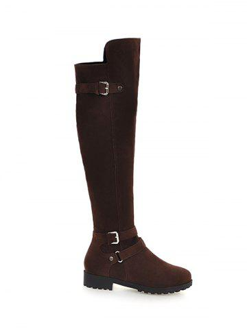 Double Buckle Metal Zipper Knee High Boots - DEEP BROWN 39