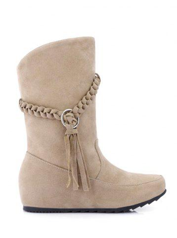 Outfit Hidden Wedge Tassels Weave Mid Calf Boots