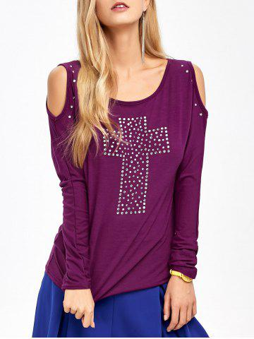 Outfits Cold Shoulder Rhinestone T-Shirt