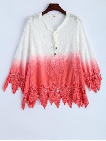 Sale Ombre Embroidered Lace Spliced Blouse