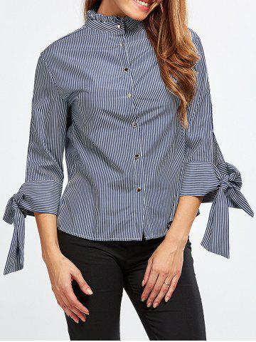 Outfits Stand Neck Striped Back Buttons Blouse BLUE AND WHITE S