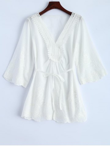 Trendy V Neck Hollow Out Self-Tie Embroidered Blouse