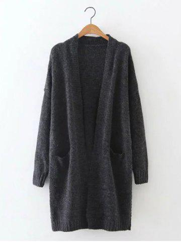 Trendy Pocket Collarless Long Cardigan