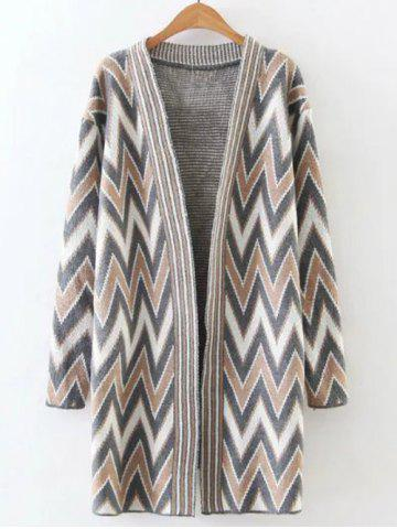 Outfits Fitting  Zigzag Long Cardigan