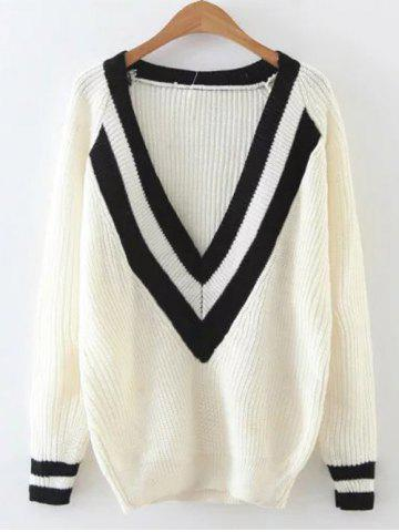 Latest Ribbed  Plunge Neck Cricket Sweater BEIGE ONE SIZE