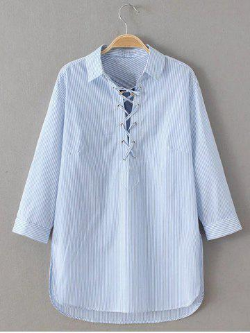 Discount Slit Striped Lace Up Shirt BLUE AND WHITE L