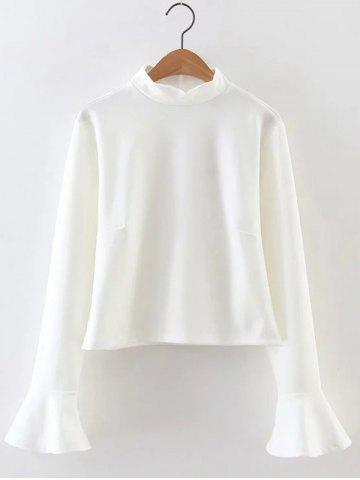 Fashion Bell Sleeve High Neck Crop Top WHITE L
