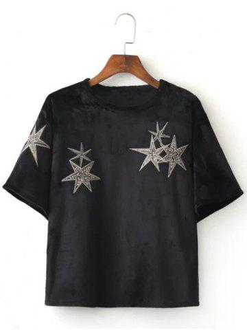 Buy Stars Embroidered Crop Tee Shirt BLACK L