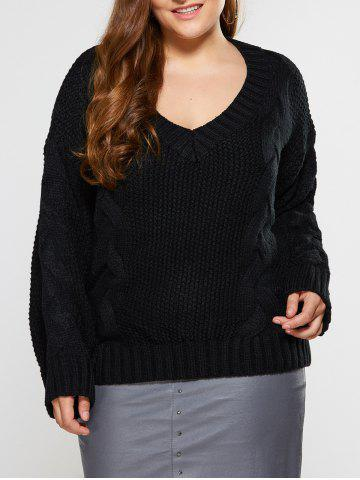 Fancy V Neck Cable Knit Sweater