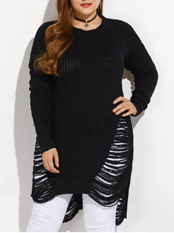 Store High Low Ripped Plus Size Crew Neck Sweater BLACK XL