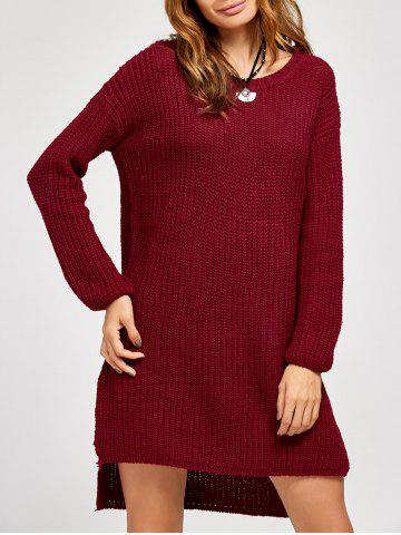 Unique High Low Slit Sweater Dress WINE RED ONE SIZE