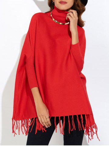 Fringe Oversized Turtleneck Poncho Long Sweater - Red - One Size