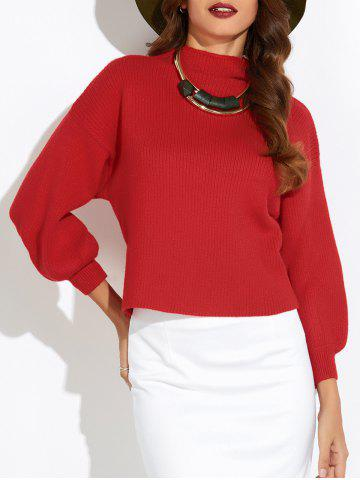 Affordable Puff Sleeve Mock Neck Sweater RED ONE SIZE