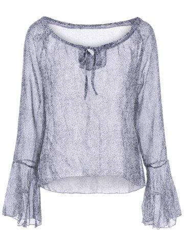 New Bell Sleeve Graphic Blouse GRAY S