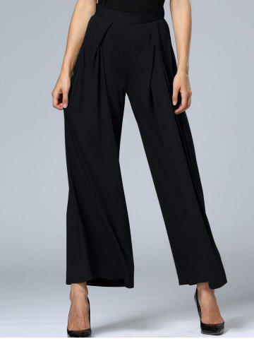 Online Long Pleated Palazzo Wide Leg Pants BLACK S