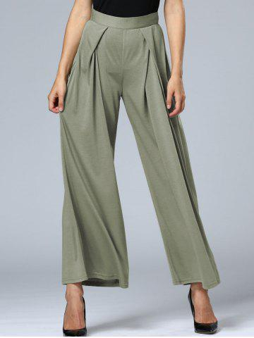 Long Pleated Palazzo Wide Leg Pants - Green Grey - Xl