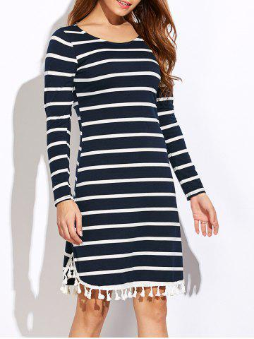 Sale Striped Tassel Long Sleeve Tee Dress PURPLISH BLUE XL
