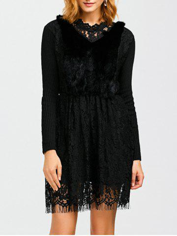 Unique Faux Fur Lace Panel Knitted Dress