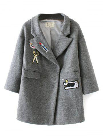 Shop Patched Embroidery Wool Coat