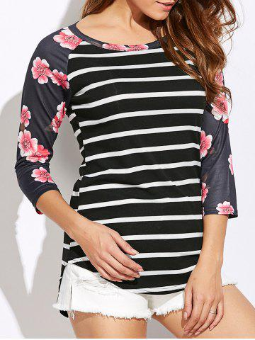 Unique Floral Print Striped Raglan Sleeve T-Shirt