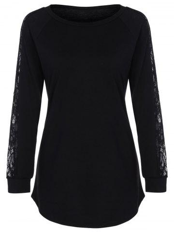Buy Lace Insert Raglan Sleeve Long T-Shirt BLACK XL