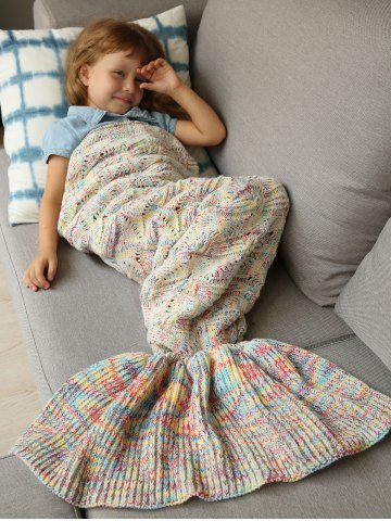 Handmade Crochet Sleeping Bag Wrap Mermaid Blanket - Colormix