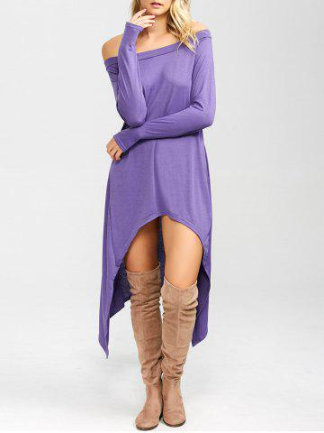 High Low Convertible Off The Shoulder Dress - PURPLE M