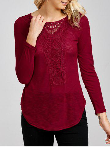 Discount Lace Insert Long Sleeve Tee