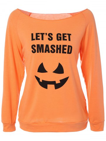 Online Boat Neck Raglan Sleeve Halloween T-Shirt ORANGE XL