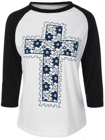 Store Floral Cross Pateern Raglan Sleeve T-Shirt WHITE XL