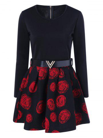 Cheap Floral Print Belted A Line Dress RED M