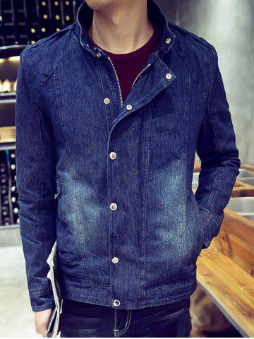 Outfits Snap Front Stand Collar Flocking Denim Jacket