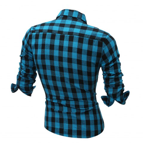 Chic Long Sleeve Breast Pocket Button Up Plaid Shirt - LIGHT BLUE XL Mobile