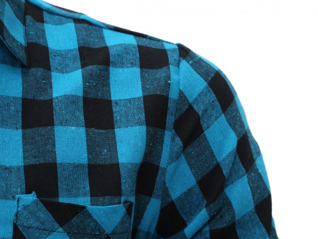 Outfits Long Sleeve Breast Pocket Button Up Plaid Shirt - LIGHT BLUE L Mobile