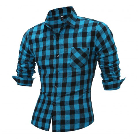 Chic Long Sleeve Breast Pocket Button Up Plaid Shirt - LIGHT BLUE L Mobile