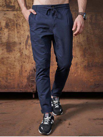 Fancy Mid Rise Pocket Zipper Fly Drawstring Pants - 31 DEEP BLUE Mobile