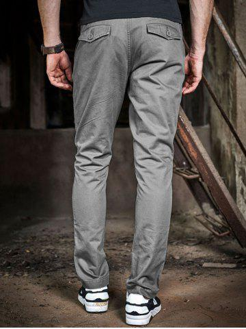 Discount Mid Rise Pocket Zipper Fly Drawstring Pants - 40 GRAY Mobile