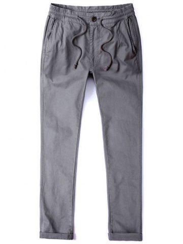 Outfits Mid Rise Pocket Zipper Fly Drawstring Pants - 40 GRAY Mobile