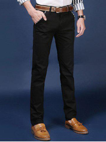 Fashion Mid Rise Pocket Zipper Fly Skinny Chino Pants BLACK 38